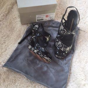 Georgina Goodman lace patent peep toe black heels